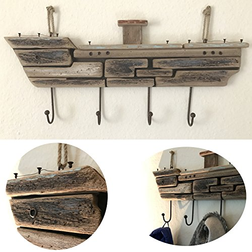 LS-LebenStil XXL Holz Wandgarderobe Garderobe 4 Haken Maritim Braun 70x30x5cm Shabby rustikal Schiff Hafen