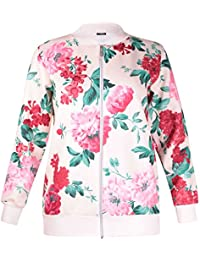 Womens Plus Size Floral Printed Ladies Long Sleeve Ribb Cuffs Bomber Jacket Top