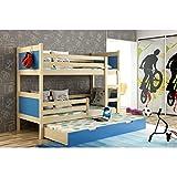 JUSThome LEON Cama juvenil infantil Litera con cajones con cama adicional (LxBxH): 190x85x150 cm Pino Azul