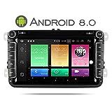 Yingly 8 Zoll Android 8.0 Doppel Din Autoradio für VW Golf Passat Skoda Jetta Tiguan Seat mit DVD-Player GPS Navi FM AM Radio Bluetooth USB SD Unterstützt Rückfahrkamera Lenkradsteuerung 1080 P Video 8 GB Kartenmaterial