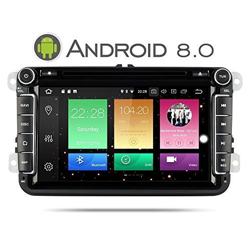 Yingly Android 20,3cm 8.0double DIN stéréo de voiture pour VW Golf Passat Skoda Jetta Tiguan Assise avec lecteur DVD Navigation GPS Bluetooth radio AM FM USB SD support caméra de recul vidéo Full HD 1080p 8Go carte carte de commande au volant