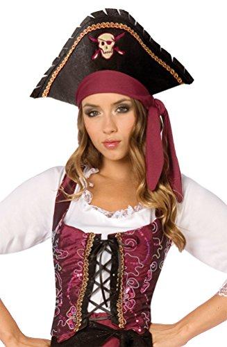 Karneval Klamotten Piratin Kostüm Piratenkostüm Damen-Kostüm Freibeuterin Piraten-Weste bordeaux-schwarz-gold Größe S