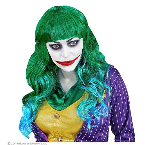 Lively Moments Perücke / Wig Evil Joker in grün - blau mit Pony / Lockenperücke / Kostüm Zubehör