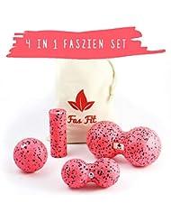 Faszienball Sets (Härtegrad/Farben/Umfang zur Auswahl): Duoball, Faszienrolle und Faszienball + Baumwolltasche + ausführliches A5 Übungsheft + A2 Übungsposter + eBook