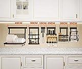 Estante de cocina multifuncional para colgar en la pared con estantes, estante de especias, estantes para botellas, organizador de estante para platos de acero inoxidable