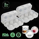 Vogek 2er Pack Eiswürfelform, silikon Eiskugelform Ice Ball Mould Sphere 100% BPA frei Eiswürfelschalen Eiswürfel mit Deckel für Whisky, Cocktails, Saft, Schokolade, Süßigkeiten, Götterspeise