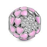 NINAQUEEN Amor y trebol Abalorio de Mujer Plata de Ley 925 Charms compatible con Pulsera de Pandora Joyas Regalo para Cumpleaños Aniversario día de San Valentín Día de la Madre Navidad Niña Esposa