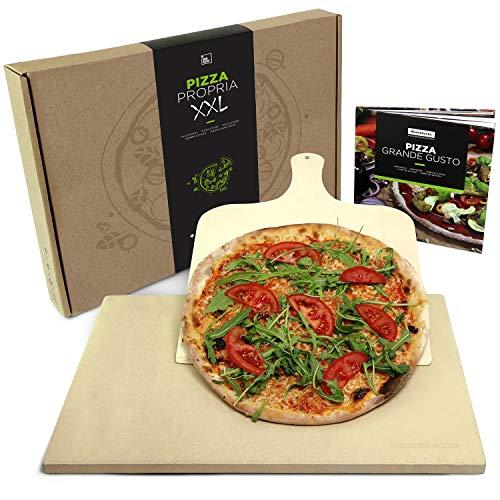 #benehacks® Pizza Propria Pizzastein XXL für Backofen & Grill - 40 x 50 x 1,5 cm - Set zum Backen inkl. Pizza-Rezeptbuch & Pizzaschaufel & Geschenkverpackung
