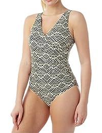 ebbd0e35a8 Oyster Bay Ladies Mono Print Wrap Style Swimsuit Swimwear.