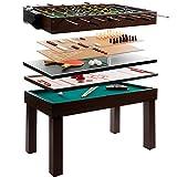 Anaterra Multigame Spieletisch 9 in 1, Kickertisch Tischfußball, Billardtisch, Tischtennis, Schach, Hockey - Multifunktions-Spieltisch mit komplettem Zubehör
