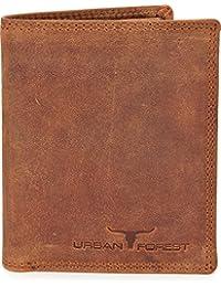 Leder Geldbörse Portemonnaie Lederbörse Brieftasche Geldbeutel Hochformat aus echtem Leder in Farben Schwarz Braun Cognac von URBAN FOREST