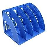 KXF Schreibtisch-Ordner, 4 Abschnitte, stabil, Kunststoff, Zeitschriftenhalter, Rahmen, Ordnerregal, Ablage und Aufbewahrung für Schule, Büro, Papier blau