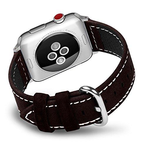 Fullmosa compatibile cinturino per apple watch 38mm/40mm e 42mm/44mm,9 colori mosa pelle cinturino/cinturini di ricambio per apple watch,per iwatch series 4,3,2,1, uomo e donna, marrone scuro