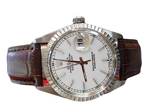 Silber-Stick Wahl Lünette Rolex Datejust Herrenuhr Lederarmband -