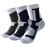 3 Pairs Pro Athletic Hiking Socks for Men - Breathable Cushioned Crew Socks
