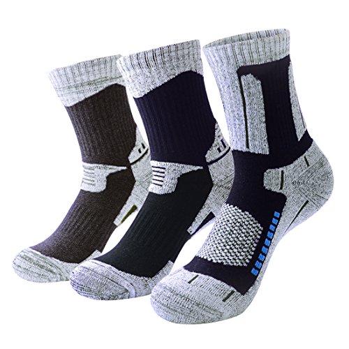 3 Paar pro Athletic Wandersocken für Männer Atmungsaktive Gepolsterte Crew Socken für Outdoor Running Skifahren Fitness Sport Sneaker (Socken Running Athletic Crew)