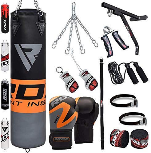 �llt Kickboxen MMA Kampfsport Muay Thai Boxen mit wandhalterung Stahlkette Training Boxhandschuhe 17 PC Schwer 4FT 5FT Punching Bag (MEHRWEG) ()