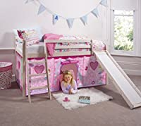 Cabin Bed Mid Sleeper in WhiteWash with Fairy Tent 66-WW-FAIRIES