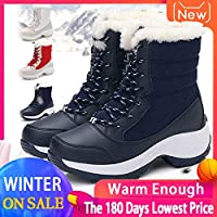 2019 Women Snow Boots Waterproof Non-Slip Parent-Child Winter Boots Thick Fur Platform Waterproof and Warm Shoes Plus Size 31-42