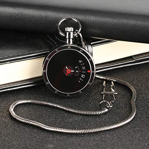 DYH&PW Taschenuhr Retro Schwarz Anhänger Taschenuhr Männer Frauen Modernes Design Vintage Plattenspieler Messzifferblatt Quarzuhr Geschenk (Plattenspieler Moderne)