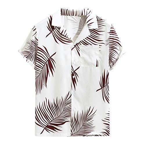 Beonzale Funky Hawaiian Shirt Herren Sommer Print Umlegekragen Slim Fit Kurzarm Chemise Summer Button Hawaii Strandtasche Quick Dry Top Blusen Cap-sleeve-chemise