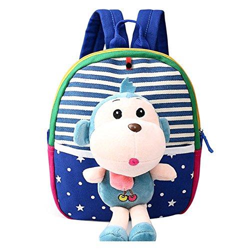 Niños Mochila bebé Rucksack - Kootk Animal Bolsa Preescolar lindo de la historieta Preescolar bolsa con 3D desmontable Peluche Juguetes Mono azul