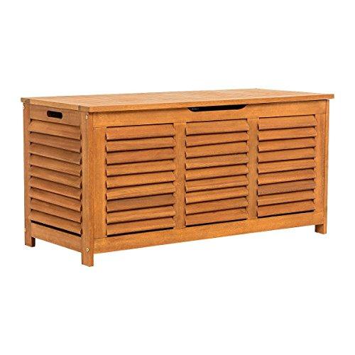 Pureday Kissenbox - Auflagenbox aus Eukalyptusholz - Natur, geölt - ca. B125 x T55 x H61 cm