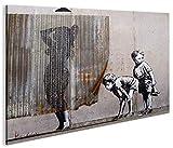 islandburner Bild Bilder auf Leinwand Banksy V3 Street Art 1p XXL Poster Leinwandbild Wandbild Dekoartikel Wohnzimmer Marke