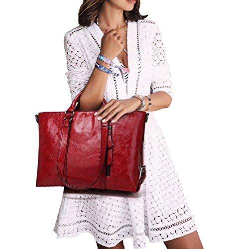 365-Shopping Klassische Retro Frauen Handtasche Leder Umhängetaschen Handtaschen Große Tragetaschen Damen Handtaschen Umhängetasche (Weinrot)