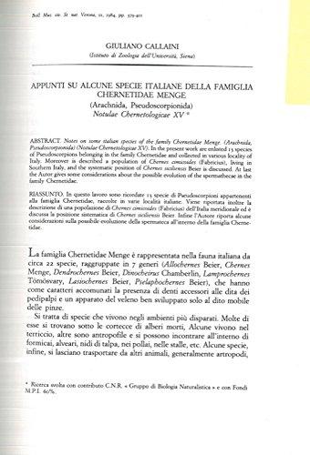 Appunti su alcune specie italiane della famiglia Chernetidae Menge (Arachnida, Pseudoscorpionida) .