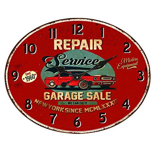 Design Quartz Wand Uhr Oldtimer Aufdruck Küche Zeit Anzeige Metall rostfärbig BHP B991756
