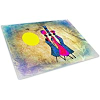 Pink African Style Glass Chopping Board Kitchen Worktop Saver Protector