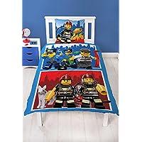 Lego CITY Figuren Set Kinder Jungen Bettwäsche POLIZEI & FEUERWEHR 2 teilig - Kissenbezug 80x80 + Bettbezug 135x200 cm - 100% Baumwolle - deutsche Bettwäschen Größe