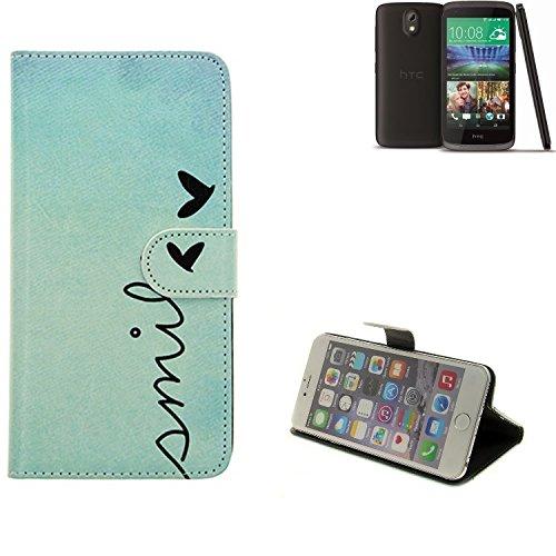 K-S-Trade® Für HTC Desire 526G Dual SIM Hülle Wallet Case Schutzhülle Flip Cover Tasche Bookstyle Etui Handyhülle ''Smile'' Türkis Standfunktion Kameraschutz (1Stk)