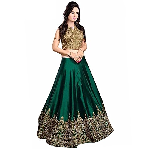 Lengha Choli for women new arrival western party wear semistitched Green lehenga choli by Woman style