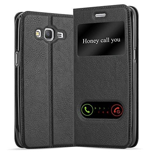 Cadorabo Hülle für Samsung Galaxy Grand Prime - Hülle in KOMETEN SCHWARZ - Handyhülle im Standfunktion & 2 Fenstern (View Design) - Case Cover Schutzhülle Etui Tasche Book Klapp Style