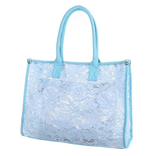 Damen Tasche, Große Tragetasche, Synthetik, TA-A-628 Blau