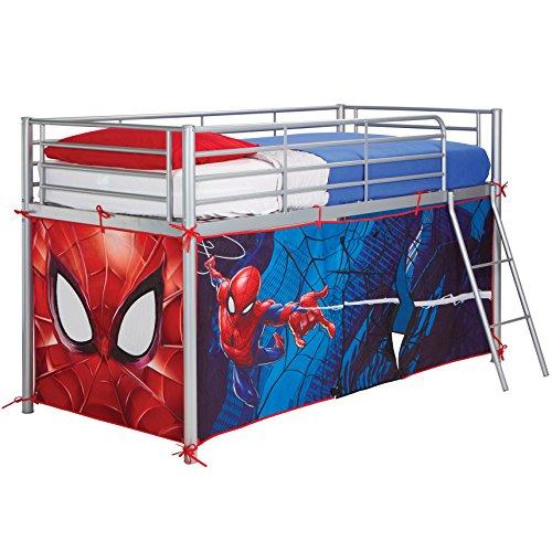 Spider Man Hochbett mit Zelt, Holz, Blue, 86 x 195 x 74 - Baldachin Schlafzimmer Möbel