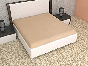 Terry Cotton King Size Double Bed Mattress Protector 100% Waterproof Dust Proof Mattress Protector Double Bed King Size Cover (White Band, 72 x 78 Inches)