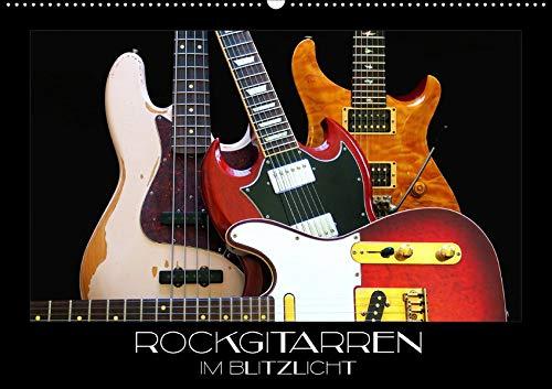 Rockgitarren im Blitzlicht (Wandkalender 2020 DIN A2 quer): Gitarrenschönheiten auf schwarzem Hintergrund eindrucksvoll in Szene gesetzt (Monatskalender, 14 Seiten ) (CALVENDO Kunst) (Fender Guitar Jaguar Bass)
