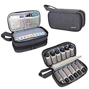 Luxja Essential Oil Bag, Double-Layer Essential Oil Carrying Case - Holds 12 Bottles (5ml-15ml, Include Roller Bottle), Portable Essential Oil Travel Bag for Essential Oil and Accessories, Black