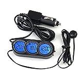GAOHOU® 3 in 1 Multifunktional Fahrzeug Auto LCD Digital Innen Außen Uhr Temperatur Thermometer Messgerät Schwarz