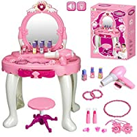 FunkyBuys® Kids Girl Glamour Mirror Dressing Table Play Set w/ Light & Sounds Toy Game Gift