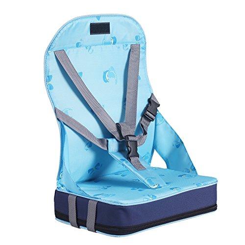 Pliant siège rehausseur Coussin de Chaise haute pour bébé avec harnais 5 points sécurité en tissu de fibre ,nylon et éponge (Bleu )