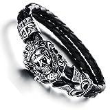 lekima pulsera de acero inoxidable pulsera de cuero esqueleto calavera Crucifijo trenzado Retro Punk Rock Bicker Joyero de cuerda a mano regalo para hombres–Negro Plata (con bolsa de regalo)