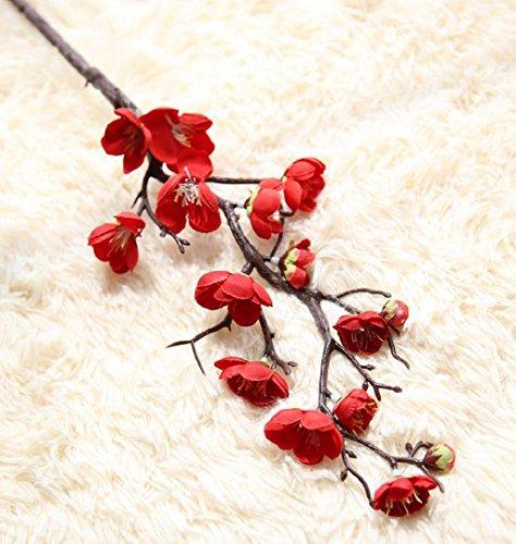 Künstliche Sträucher Blumen (ZEZKT-Home Unechte Blumen Künstliche Deko Blumen Gefälschte Blumen Pflaume Hochzeitsblumenstrauß Hause Dekoration Falsch Dreieck Plum Flower Emulation Hochzeit Hotel Stock Blumen Baum (Rot, 60cm Length))