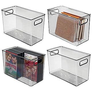 mDesign rangement à poignées (lot de 4) - grand panier de rangement transparent au design élégant - bac de rangement en plastique sans BPA pour cosmétiques dans la salle de bain - gris foncé