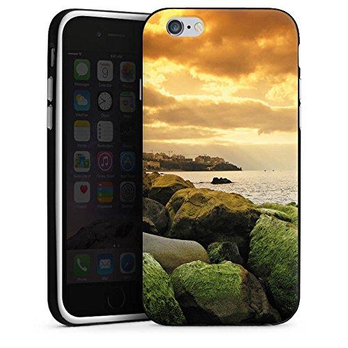 Apple iPhone 4 Housse Étui Silicone Coque Protection Côte Paysage Rocher Housse en silicone noir / blanc