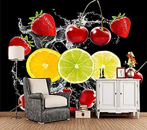 FSLUCKY Tapete Erdbeere Kirsche Zitronen Hintergrund Schwarz Spray Hintergründe D Bildschirm Essen Restaurant Wohnzimmer Fernseher Sofa Wand Küche 3D Hintergrund D Bildschirm-C -