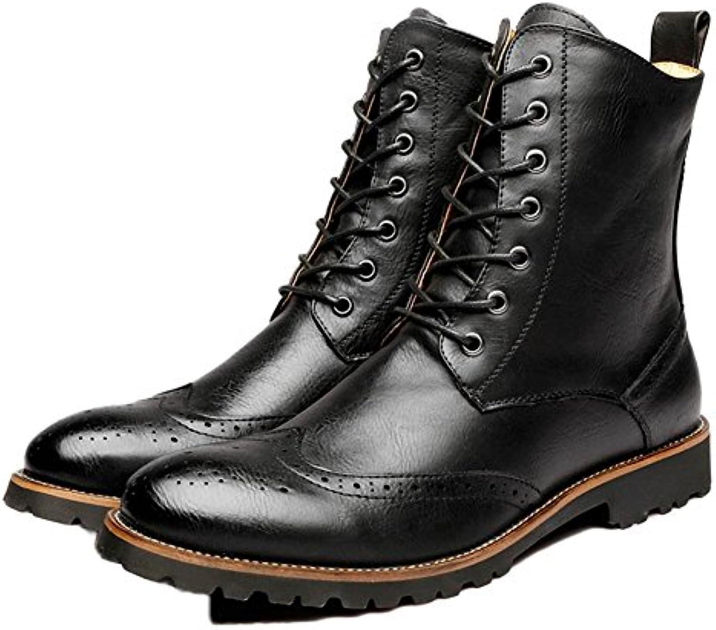 XIE Otoño Invierno Martín Botas con Cordones Hombres Casual Alto Cuero Negro marrón Real tamaño 38-43, 44 -